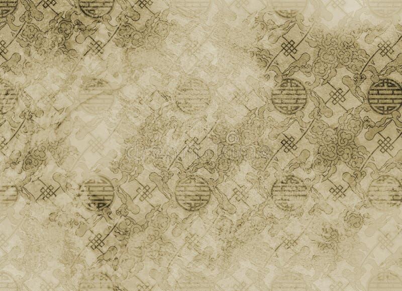 Teste padrão textured chinês em filigree para o backgroun ilustração do vetor