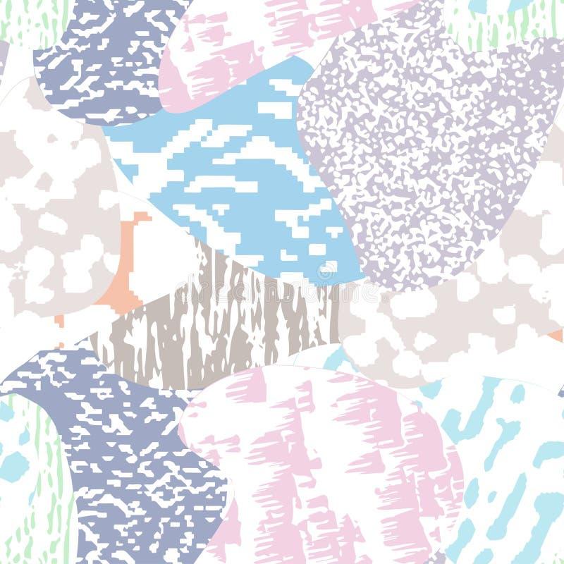 Teste padrão textured, colorido moderno sem emenda do grunge Fundo com o ornamento gráfico das combinações da multi-cor EPS10 ilustração stock