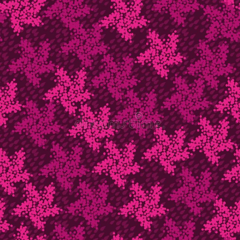 Teste padrão textured do vetor sem emenda com as estrelas cor-de-rosa no fundo roxo ilustração do vetor