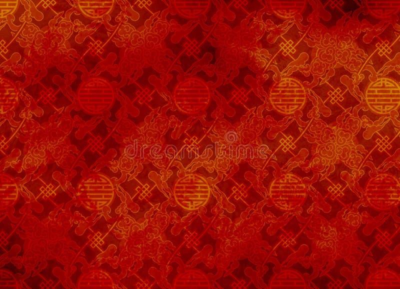 Teste padrão textured vermelho chinês em filigree ilustração royalty free