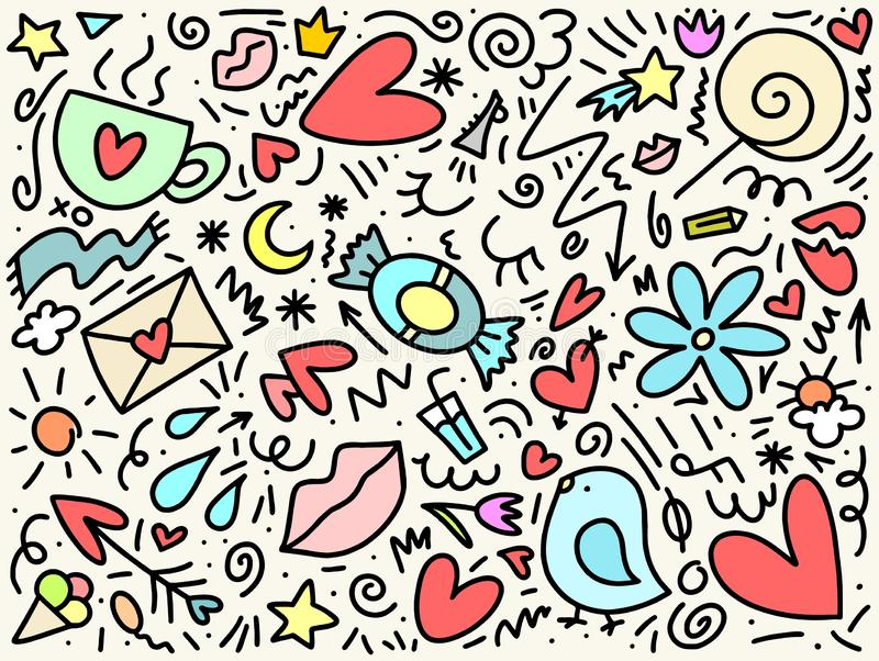 Teste padrão tirado da garatuja do amor e da data mão colorida com pássaro, coração, flores e coroa Ilustração feliz do dia do `  ilustração royalty free