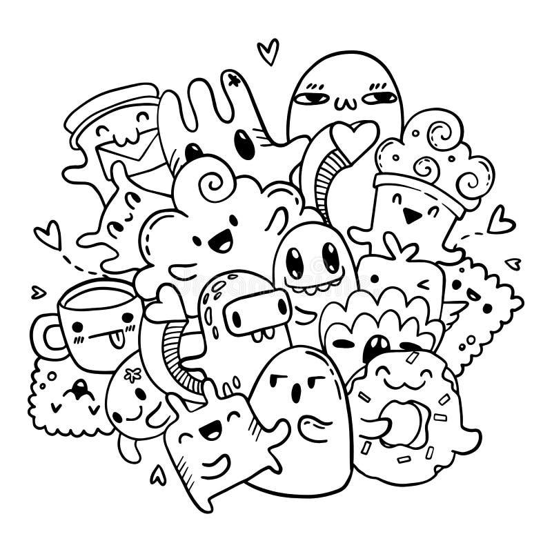 Teste padrão tirado das garatujas mão bonito O vetor isolou o grupo do esboço de monstro dos desenhos animados Página do livro pa ilustração royalty free