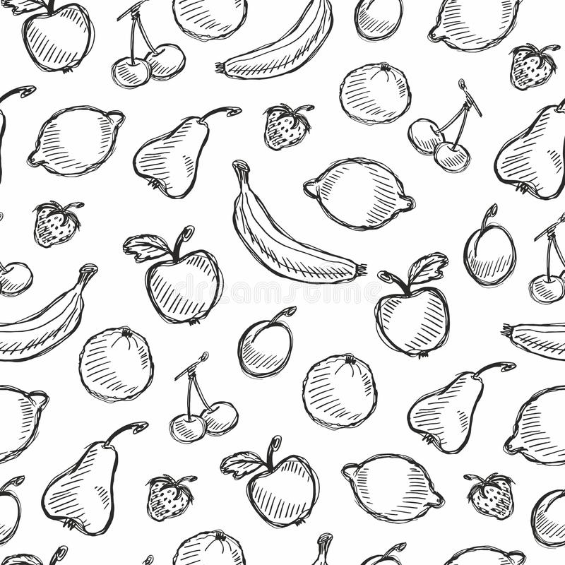 Teste padrão tirado do fruto mão sem emenda com maçã, cereja, limão, banana, morango, ameixa, pera, pêssego, alaranjado Backgroun ilustração do vetor