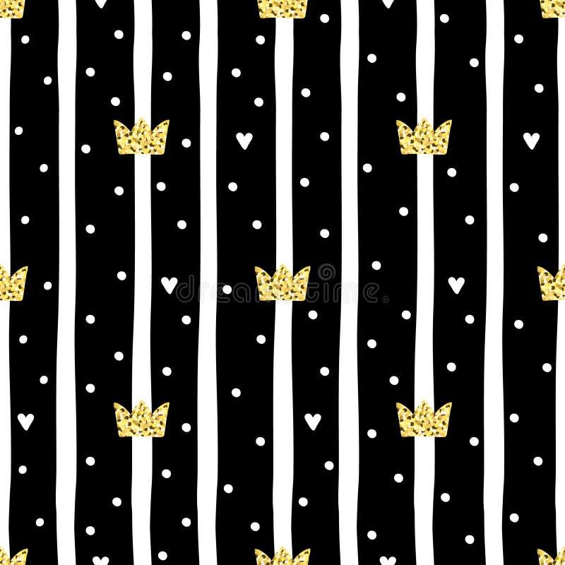 Teste padrão tirado mão com coroa Princesa pequena do projeto da garatuja ilustração royalty free