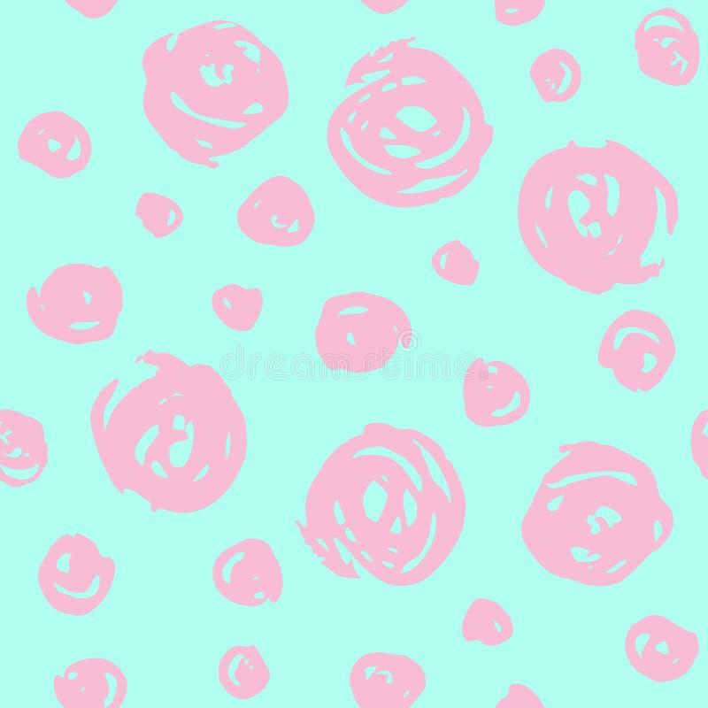Teste padrão tirado mão com elementos redondos cor-de-rosa ilustração royalty free