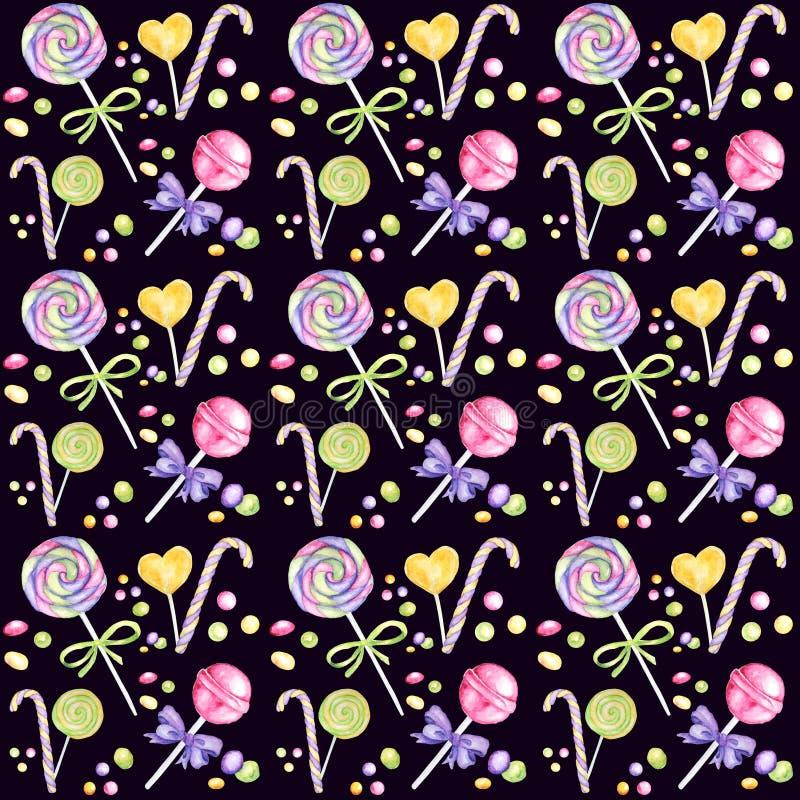 Teste padrão tirado mão da aquarela da barra de chocolate, pirulito e cores brilhantes da curva - roxas, papel verde, amarelo do  fotos de stock royalty free