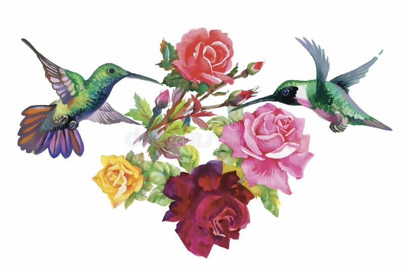 Teste padrão tirado mão da aquarela com as flores tropicais do verão de e os pássaros exóticos ilustração stock