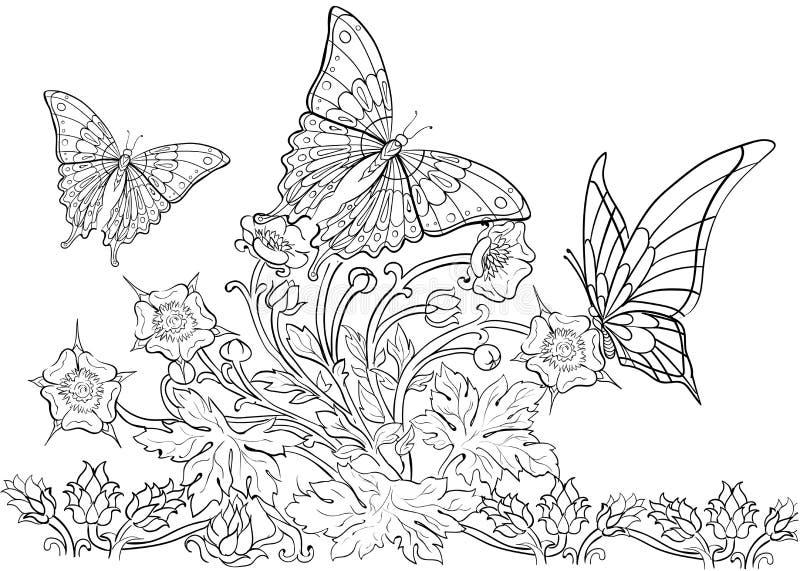 Teste padrão tirado mão da tinta Coloração do livro para colorir para a página adulta para o livro para colorir: muito interessan ilustração stock