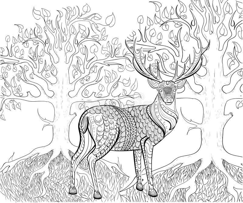 Teste padrão tirado mão da tinta Livro para colorir para o adulto ilustração royalty free