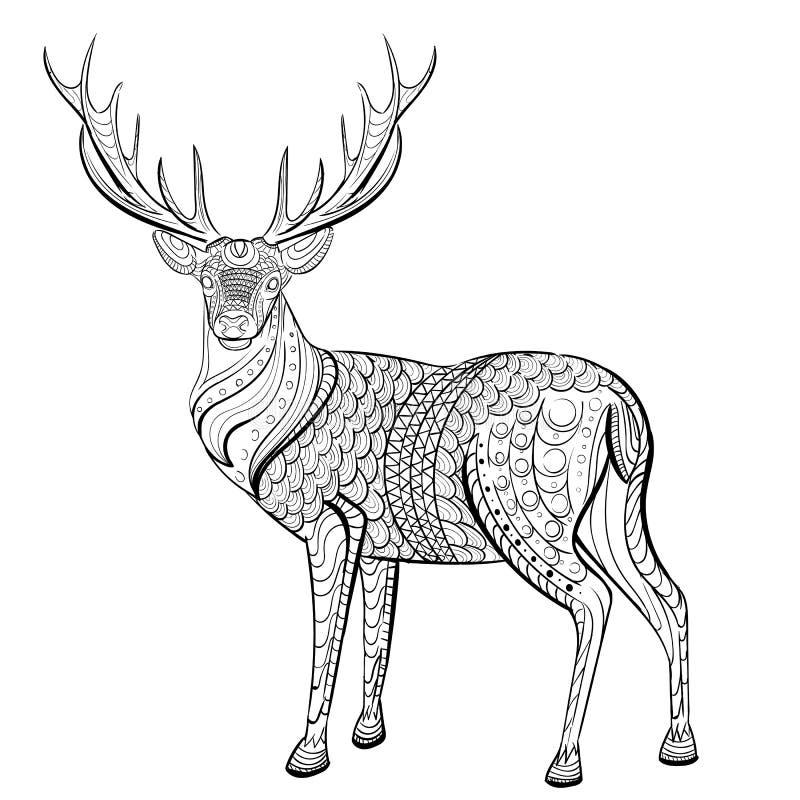 Teste padrão tirado mão da tinta Livro para colorir para o adulto ilustração stock