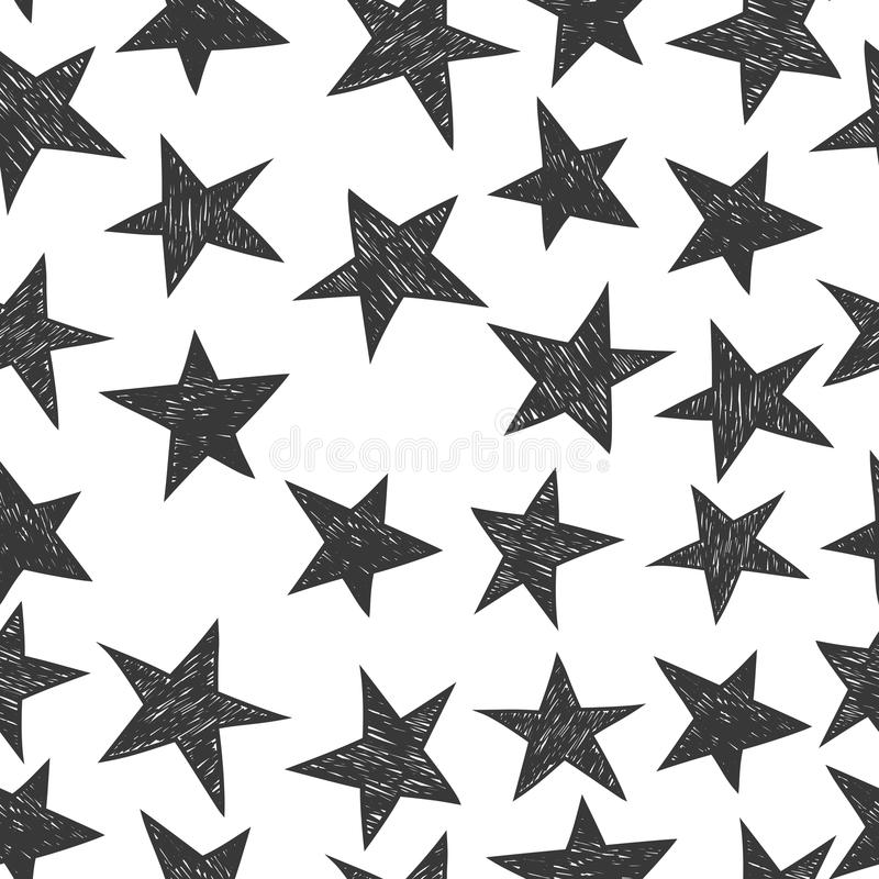 Teste padrão tirado mão das estrelas ilustração royalty free