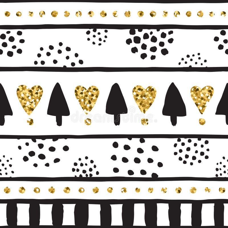 Teste padrão tirado mão de tinta preta, e do ouro do vetor Parte seis ilustração stock