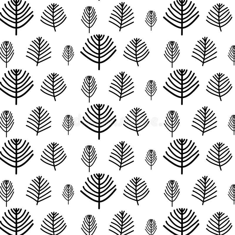 Teste padrão tirado mão do vetor da árvore ilustração do vetor