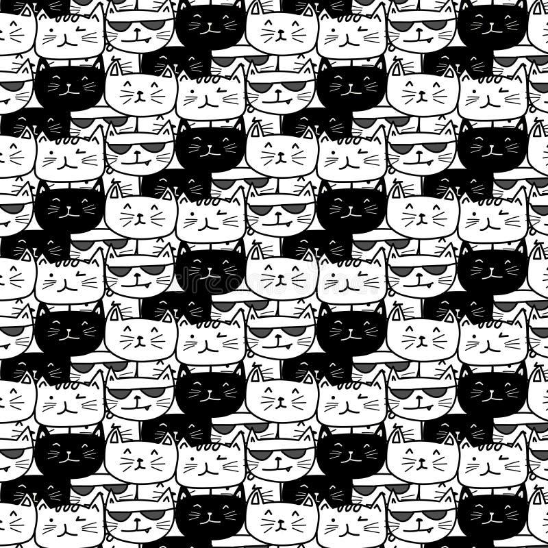 Teste padrão tirado mão do vetor dos gatos Arte da garatuja ilustração stock
