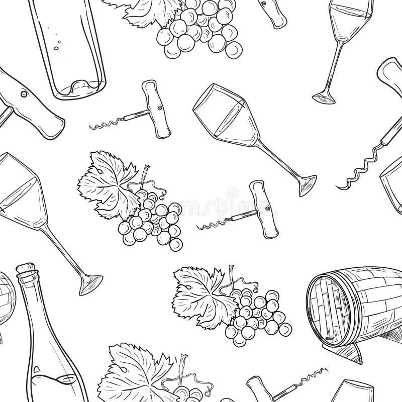 Teste padrão tirado mão do vinho ilustração stock