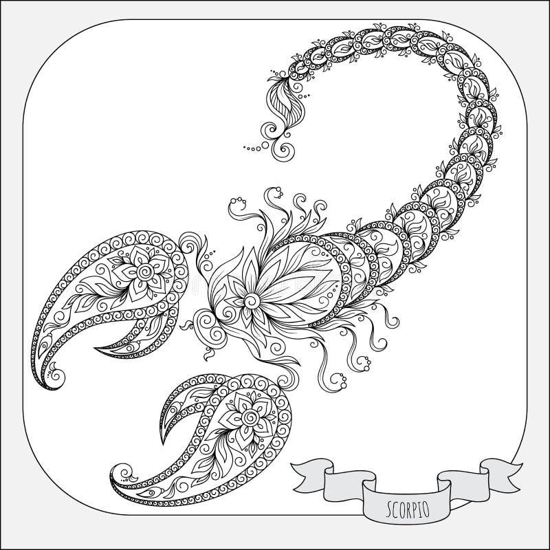 Teste padrão tirado mão para a Escorpião do zodíaco do livro para colorir ilustração royalty free