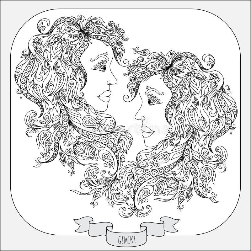 Teste padrão tirado mão para Gêmeos do zodíaco do livro para colorir ilustração royalty free
