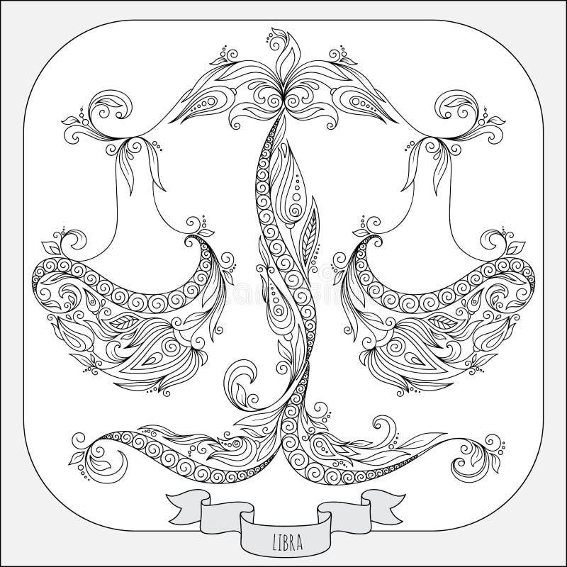 Teste padrão tirado mão para a Libra do zodíaco do livro para colorir ilustração royalty free