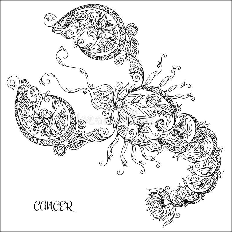 Teste padrão tirado mão para o câncer do zodíaco do livro para colorir ilustração do vetor