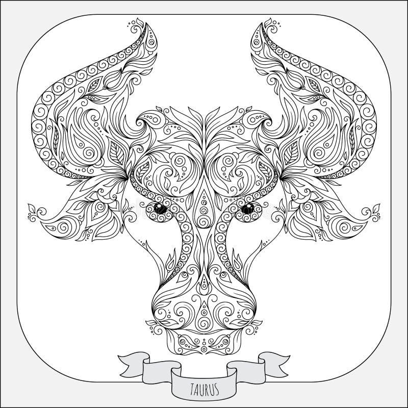 Teste padrão tirado mão para o Touro do zodíaco do livro para colorir ilustração stock