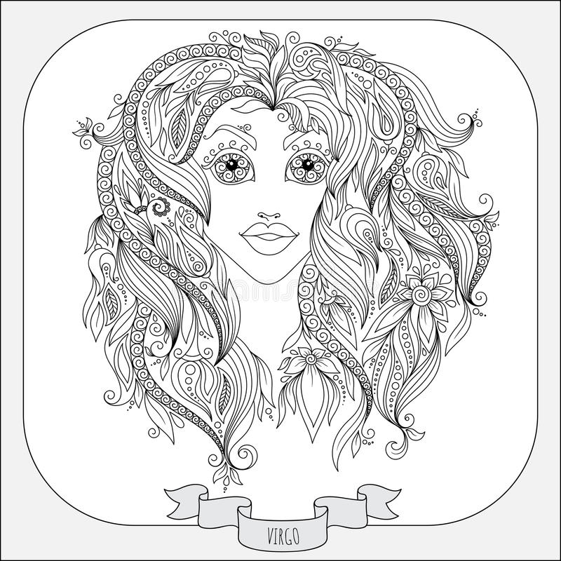 Teste padrão tirado mão para a Virgem do zodíaco do livro para colorir ilustração stock
