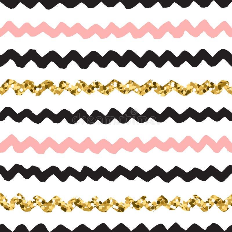 Teste padrão tirado mão preto, cor-de-rosa e do ouro da garatuja do vetor de ziguezague ilustração stock