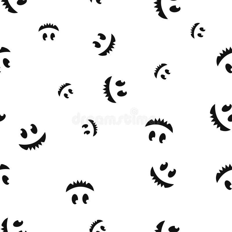 Teste padrão Toothy de Dia das Bruxas da cara sem emenda ilustração stock