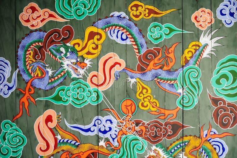 Teste padrão tradicional da porta coreana do castelo fotografia de stock royalty free