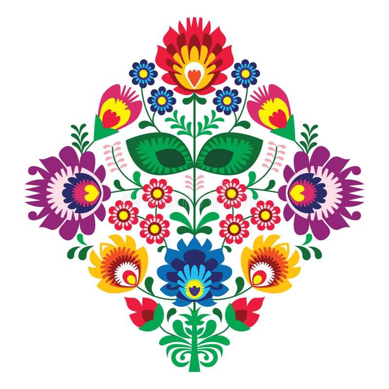 Bordado popular com flores - teste padrão polonês tradicional ilustração stock