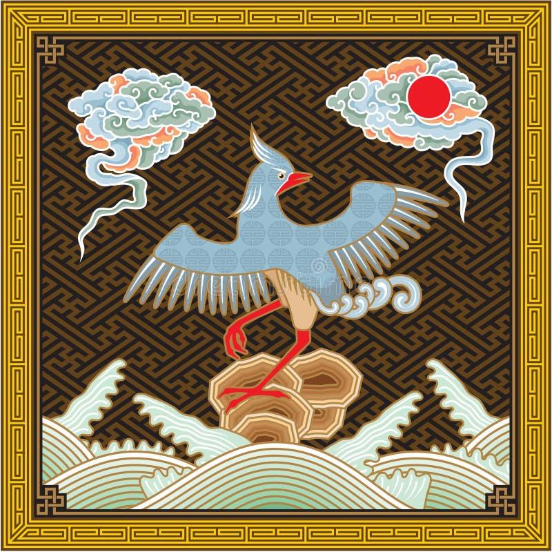 Teste padrão tradicional detalhado elevado chinês de Phoenix ilustração do vetor