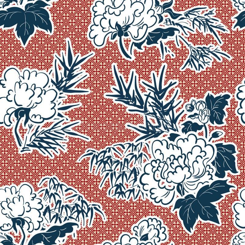 Teste padrão tradicional japonês da peônia da ilustração do vetor sem emenda imagens de stock
