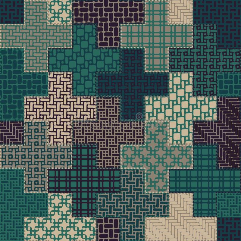Teste padrão transversal sem emenda dos retalhos da edredão do vetor no verde e na Tan Colors ilustração do vetor