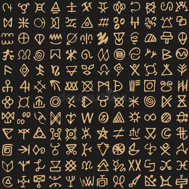 Teste padrão tribal com fundo antigo da ilustração do vintage do estilo dos símbolos ilustração stock