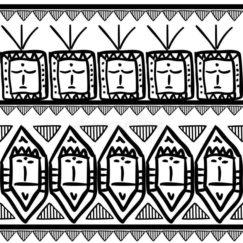 Teste padrão tribal do vetor com estilo asteca do maya étnico preto e branco do símbolo Bom para seus envolvimento e c?pia da for ilustração stock
