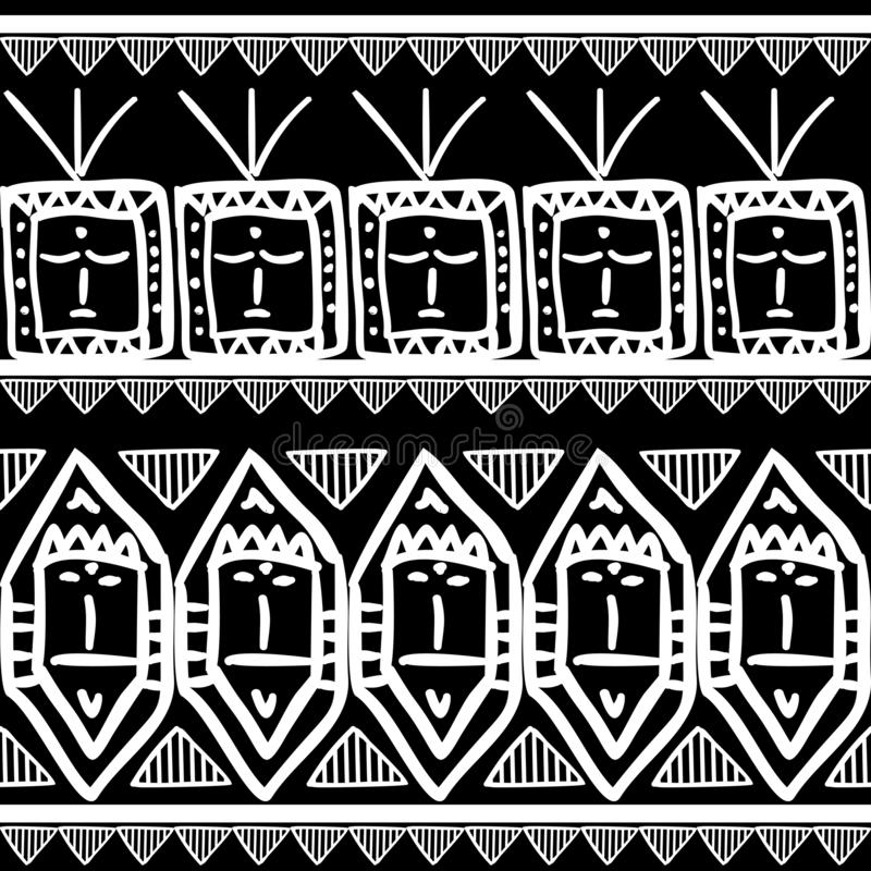 Teste padrão tribal do vetor com fundo de tiragem do maya preto e branco sem emenda das cores r ilustração royalty free