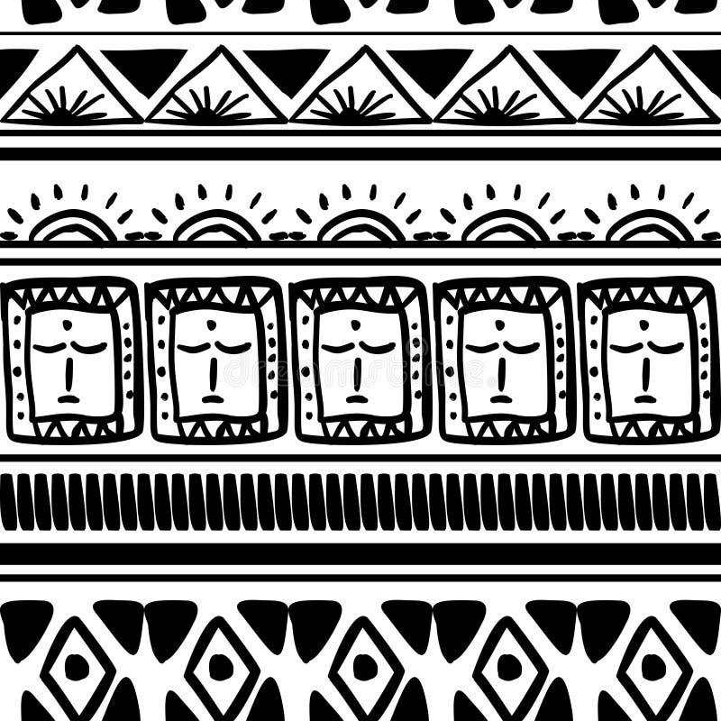 Teste padrão tribal do vetor com fundo preto e branco do maya étnico na moda sem emenda r ilustração stock