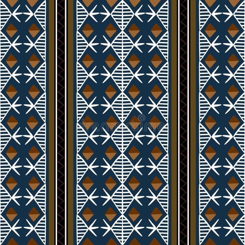 Teste padrão tribal do vetor com ilustração tirada da textura do símbolo do diamante do maya mão étnica r ilustração royalty free