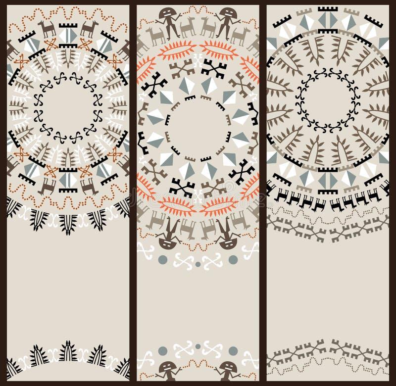 Teste padrão tribal no grupo de cartões ilustração stock
