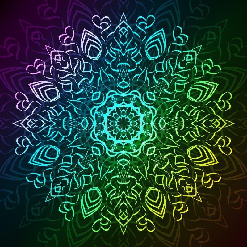 Teste padrão tribal redondo decorativo abstrato do laço sobre ilustração stock