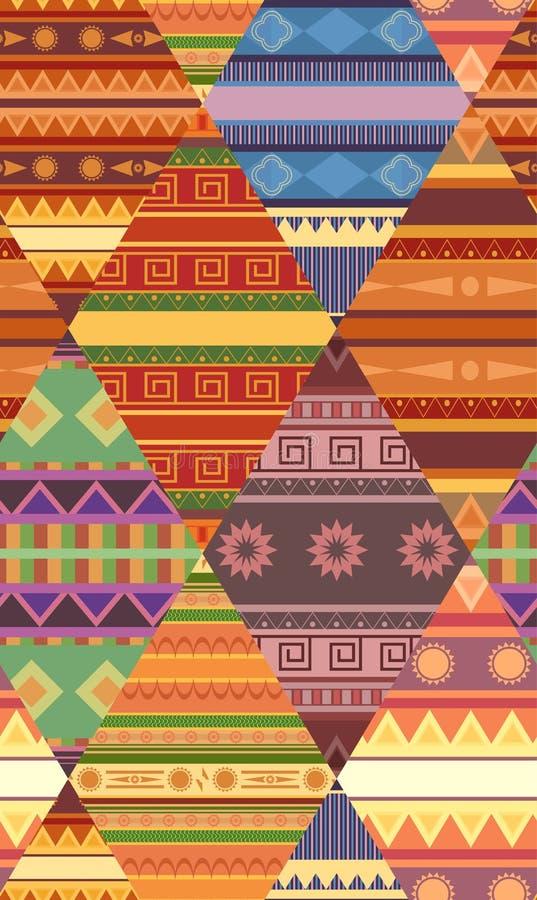 Teste padrão tribal sem emenda com testes padrões nativos Cobertura dos retalhos Textura do vetor ilustração royalty free