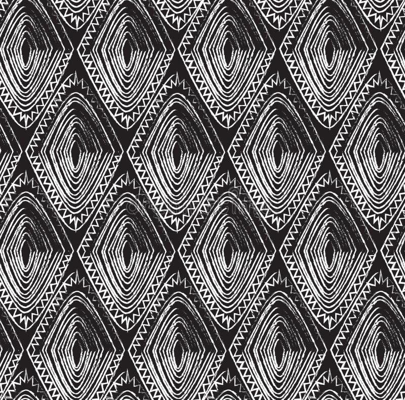 Teste padrão tribal sem emenda com um motivo do diamante de um tribo africano imagem de stock royalty free