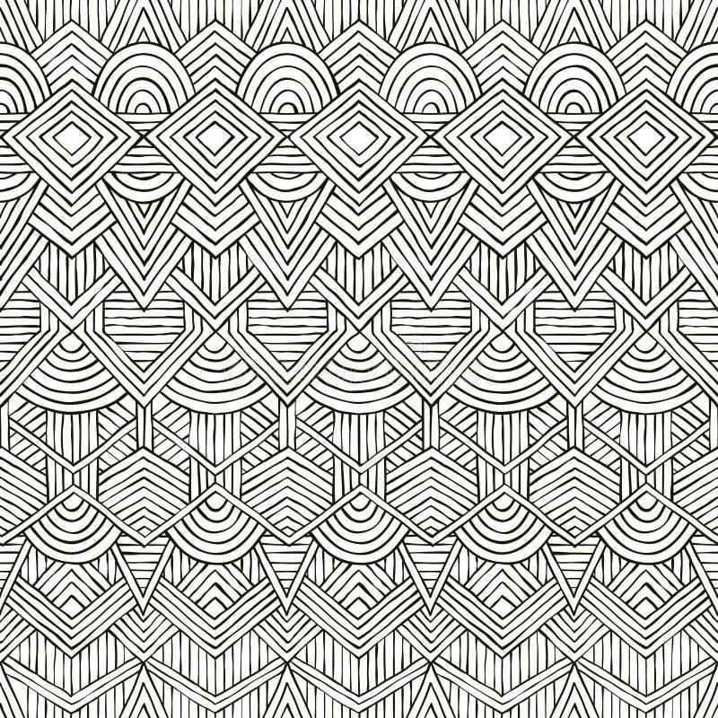 Teste padrão tribal sem emenda do vetor Desenhado à mão ilustração royalty free