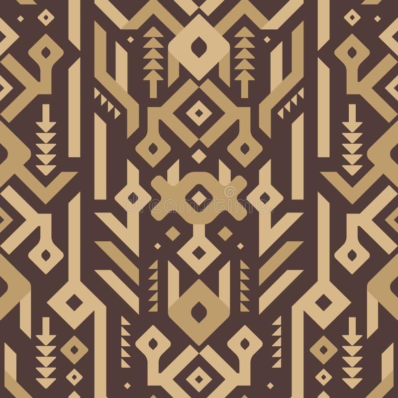 Teste padrão tribal sem emenda do vetor no estilo de madeira ilustração stock