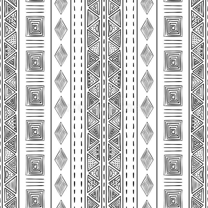 Teste padrão tribal sem emenda do vetor preto e branco ilustração stock