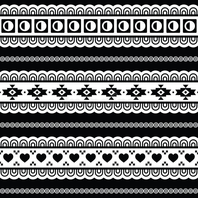 Teste padrão tribal sem emenda, fundo preto e branco asteca ilustração royalty free