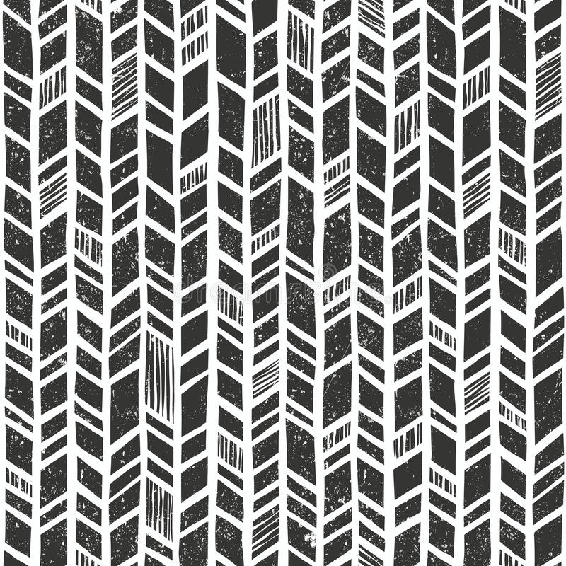 Teste padrão tribal tirado mão do vetor Fundo geométrico primitivo sem emenda com textura do grunge ilustração do vetor