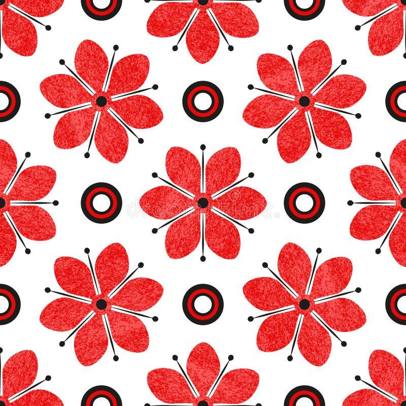 Teste padrão tricolor sem emenda com as flores vermelhas do grunge ilustração do vetor