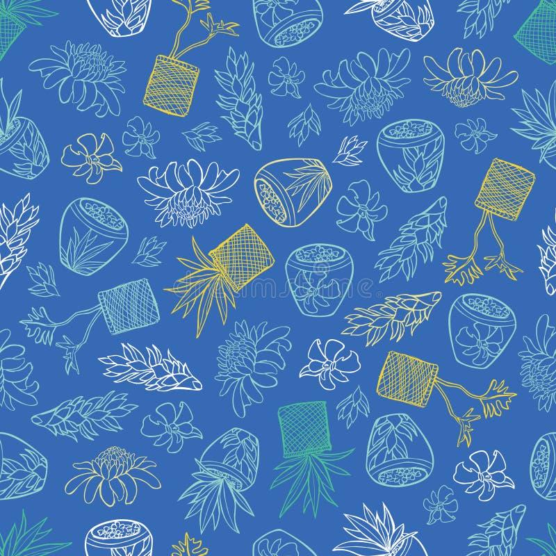 Teste padrão tropical azul do vetor com flores do gengibre, plantas da cesta e os potenciômetros cerâmicos do estilo de bali Aper ilustração royalty free