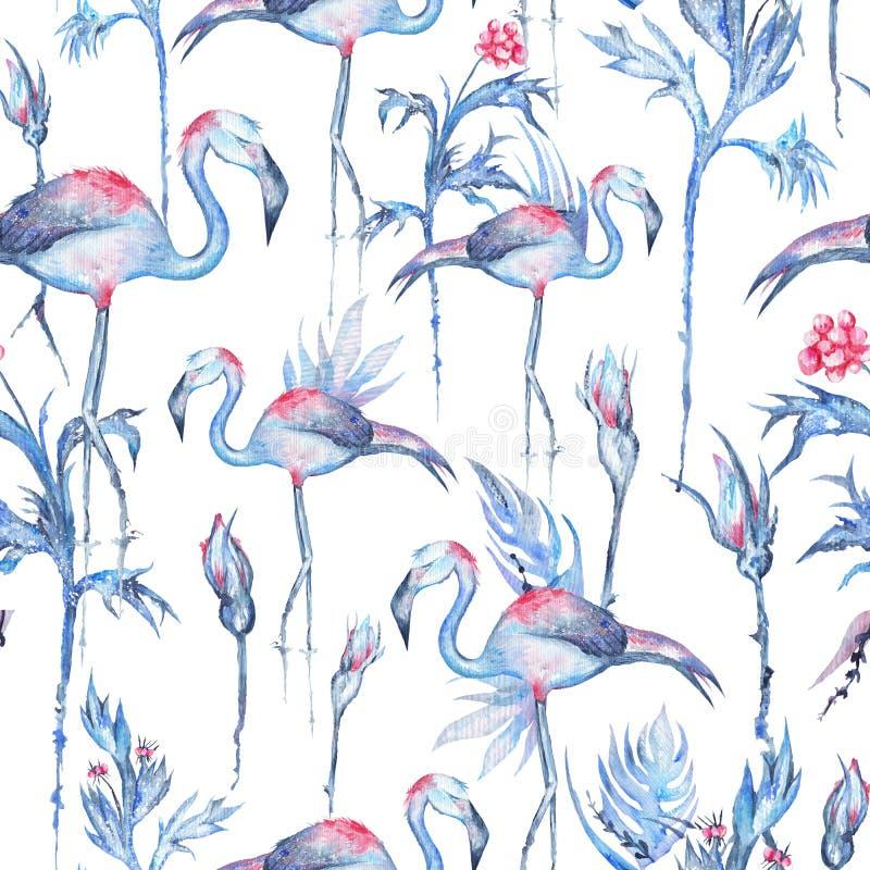 Teste padrão tropical azul na moda da aquarela ilustração royalty free