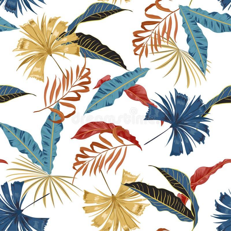 Teste padrão tropical brilhante artístico bonito sem emenda do vetor na moda com fundo floral à moda original colorido da flor ilustração royalty free